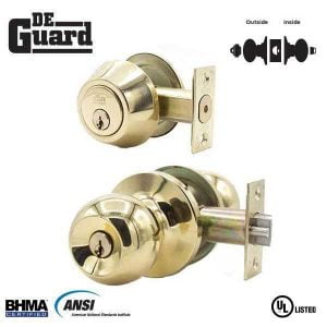 DeGuard Premium Combo Lockset - Polished Brass - Entrance - Grade 3 - SC1