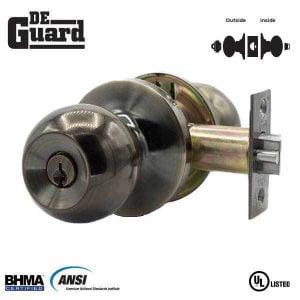 DeGuard Premium Knobset - Antique Brass - Entrance - Grade 3 - SC1