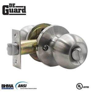 DeGuard Premium Knobset - Stainless Steel - Entrance - Grade 3 - SC1