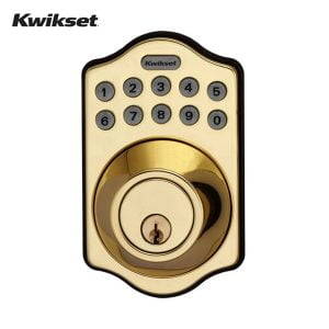 Kwikset Arch Electronic Deadbolt with Lighted Keypad (Polished Brass)