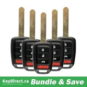 BUNDLE OF 5 / 2013-2015 Honda Accord / Civic / 4-Button Remote Head Key / MLBHLIK6-1T (RK-HON-35118)