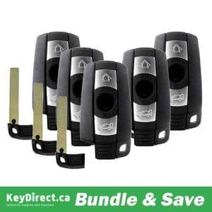 BUNDLE OF 5 / 2004-2010 BMW 3 / 5 Series / 3-Button Smart Key / PN: 6986583-04 / KR55WK49147 / Comfort Access / CAS3 (RSK-BMW-CAS3KG)