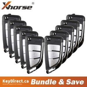 (Bundle of 10) Xhorse - Knife Style / 3-Buttons Universal Remote Flip Key W/ Super Transponder for VVDI Key Tool VVDI2 (Wireless)