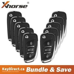 (Bundle of 10) Xhorse - Generic Style / 3-Button Universal Remote Flip Key for VVDI Key Tool (Wired)