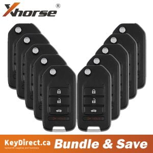 (Bundle of 10) Xhorse - Honda Style / 4-Button Universal Remote Key for VVDI Key Tool (Wired)