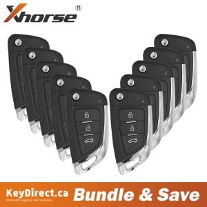 (Bundle of 10) Xhorse - 3-Buttons Universal Remote Flip Key for VVDI Key Tool (Wired)