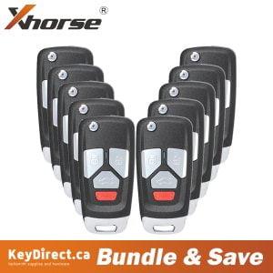 (Bundle of 10) Xhorse - Audi Style / 4-Button Universal Remote Flip Key for VVDI Key Tool (Wireless)