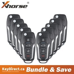 (Bundle of 10) Xhorse - Ford Style / 4-Button Flip Remote Key for VVDI Key Tool (Wireless)