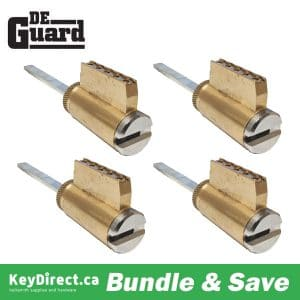 (Bundle of 4) DeGuard High Security - (Key-In-Knob) KIK Cylinder - 206 Keyway - 26D - Satin Chrome