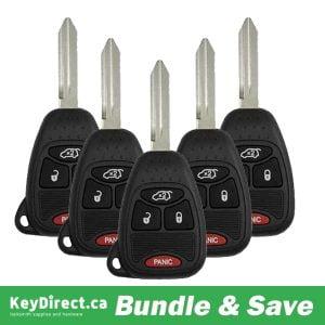 Bundle of 5 / 2004-2008 Jeep / Chrysler / Dodge / 4-Button Remote Head Key / M3N5WY72XX / (RK-CHY-M3N-4)