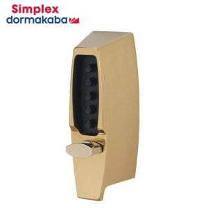 "Simplex 7104 Mechanical Pushbutton Deadlocking Latch Keyless Lock / 2 3/8"" Backset / Bright Brass"
