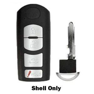 2009-2019 Mazda / 4-Button Smart Key SHELL for WAZSKE13D01, WAZX1T768SKE11A03 (RHS-MAZ-WAZ)