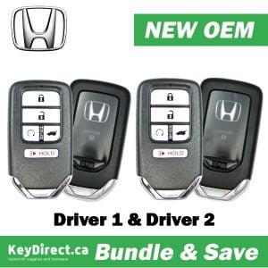 (Bundle Driver 1 & Driver 2) 2019-2020 Honda Passport Pilot / 5-Button Smart Key / w/ Hatch / Driver 1 PN: 72147-TG7-AA1, 72147-TG7-A82 / Driver 2 PN: PN: 72147-TG7-AB1, KR5V44 KR5T44