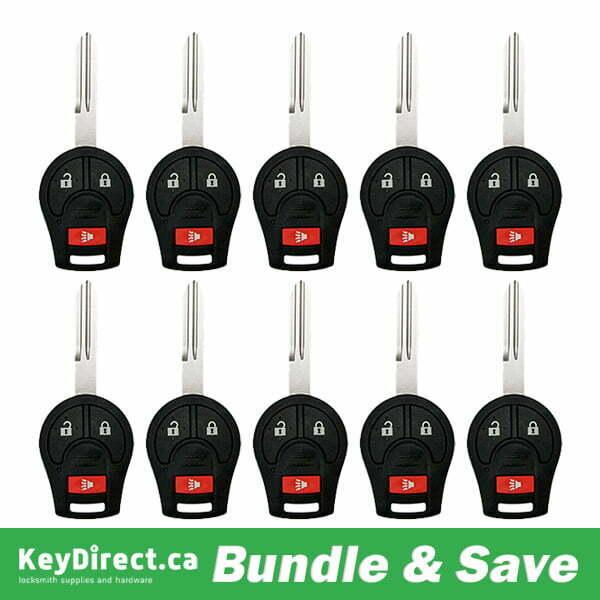 Bundle Of 10 / 2003-2019 Nissan / 3-Button Remote Head Key / CWTWB1U751 (RK-NIS-751)