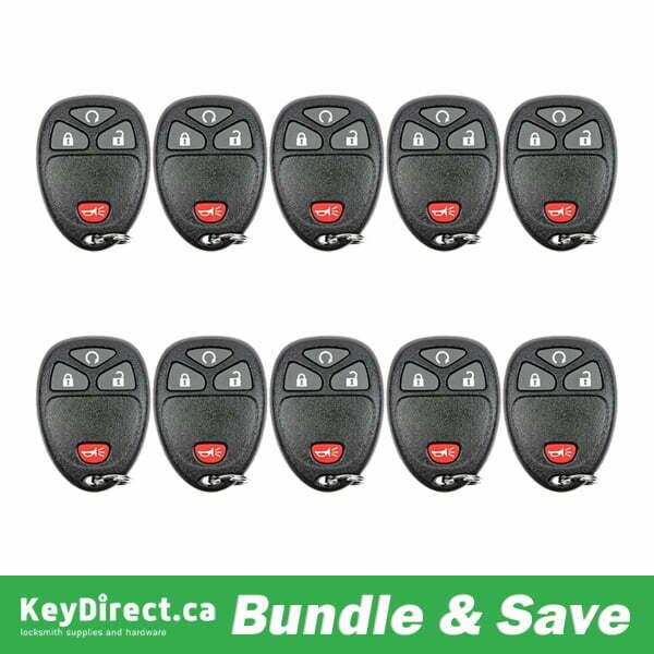 Bundle Of 10 / 2005-2010 GM / 4-Button Keyless Entry Remote / KOBGT04 (R-GM-401B)
