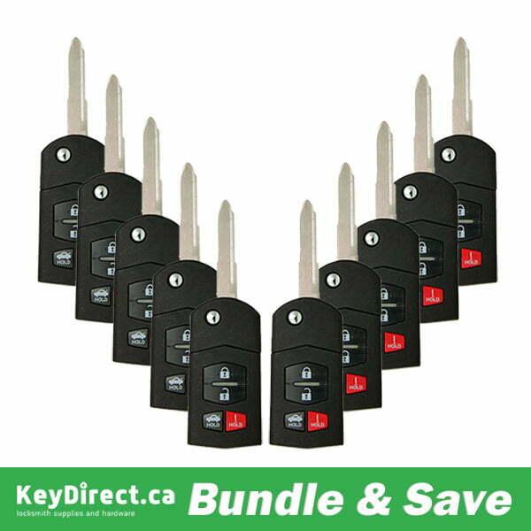 BUNDLE OF 10 / 2006-2015 Mazda / 4-Button Flip Key / BGBX1T478SKE125-01 / (RK-MZ-SKE-4)